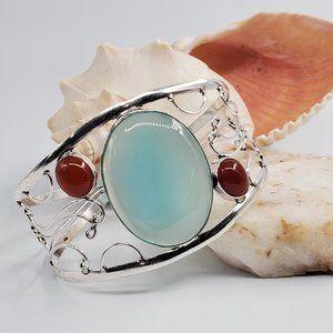 Silver Bracelet Natural Blue Chalcedony